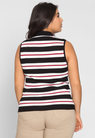Plus Size Charger Knit Stripe Top in Red