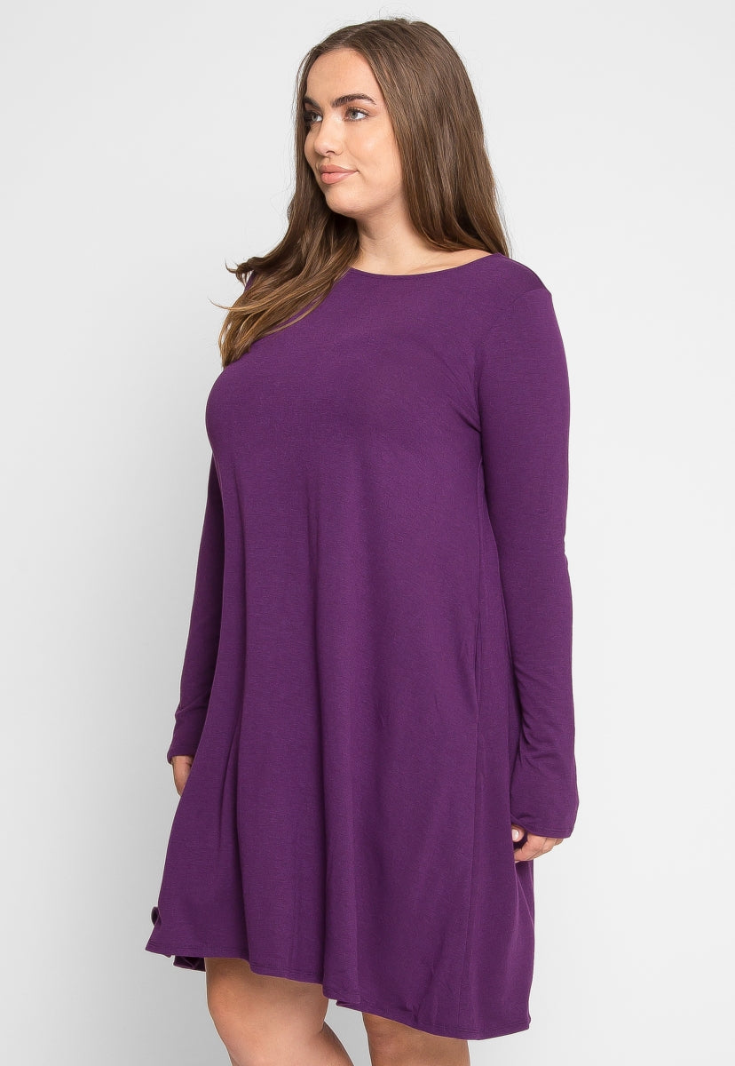 Plus Size Dreamer Knit Dress in Purple - Plus Dresses - Wetseal