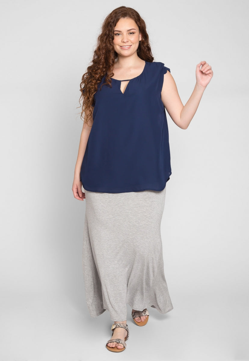 Plus Size Clouds Scallop Edge Top in Navy - Plus Tops - Wetseal