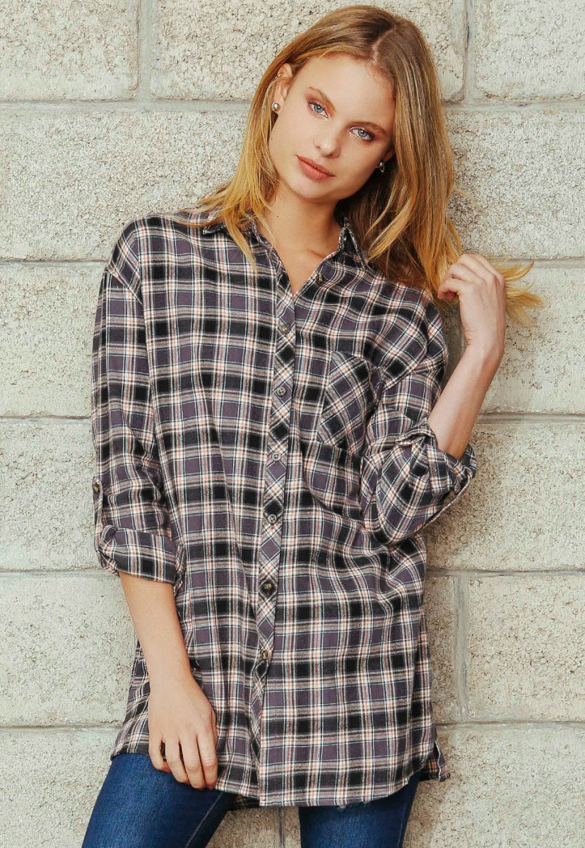oversize plaid flannel shirt in grey wet seal