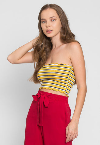 Arcadia Stripe Tube Top in Yellow