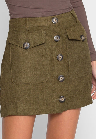 Cabin Retreat Mini Skirt in Olive