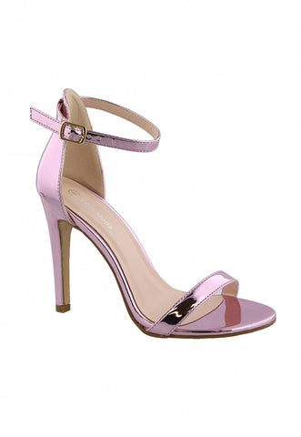 Graduation Sandal Heels in Metallic Pink