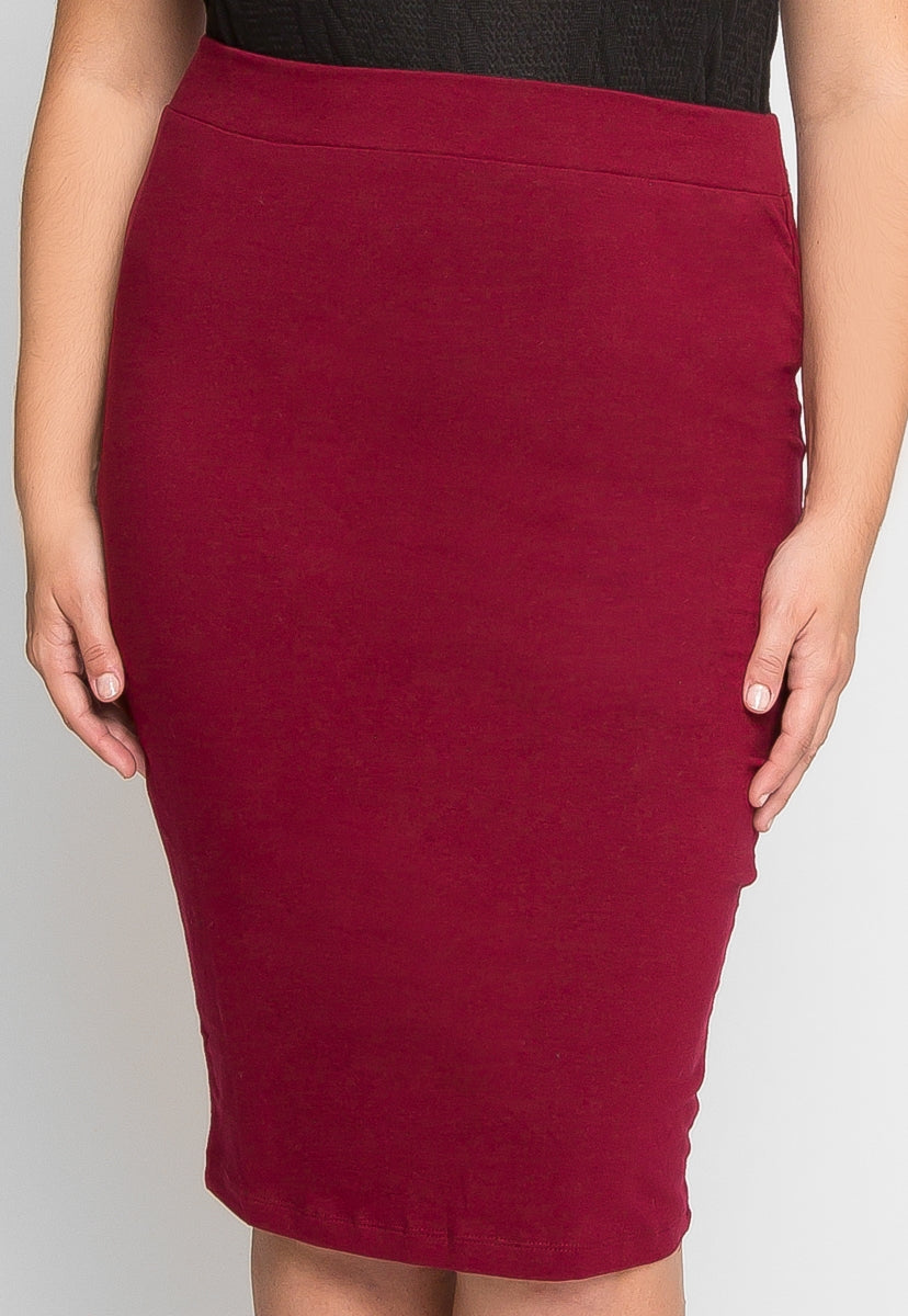 Plus Size Basic Knit Skirt in Burgundy - Plus Bottoms - Wetseal