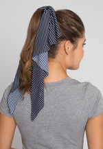 Lake Stripe Tail Scrunchie in Navy