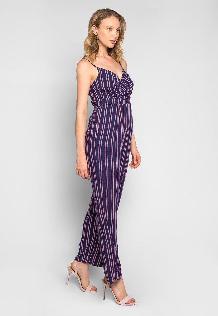 New Light Striped Sleeveless Jumpsuit - Rompers & Jumpsuits - Wetseal