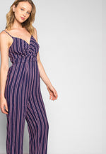New Light Striped Sleeveless Jumpsuit