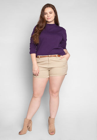 Plus Size Iris Mock Neck Top in Purple