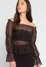 Hollows Sheer Gathered Top in Burgundy Print