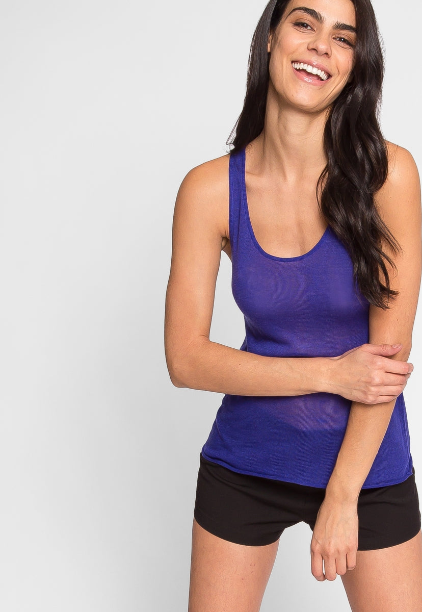 Penny Luxe Tank Top in Blue - Tanks - Wetseal