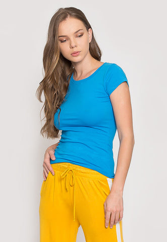 Venus Fitted Crew Neck Tee in Light Blue
