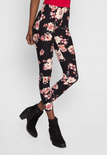 Floral leggings in black