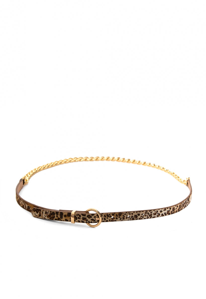 Leopard Leather and Chain Belt - Belts - Wetseal