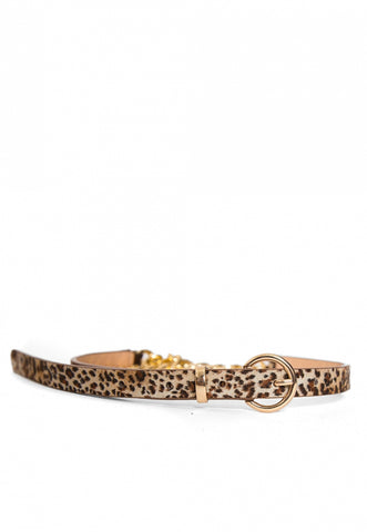 Leopard Leather and Chain Belt