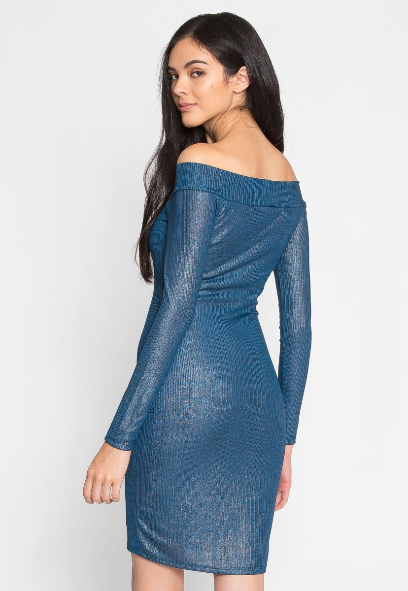 Shout Off Shoulder Metallic Dress - Dresses - Wetseal