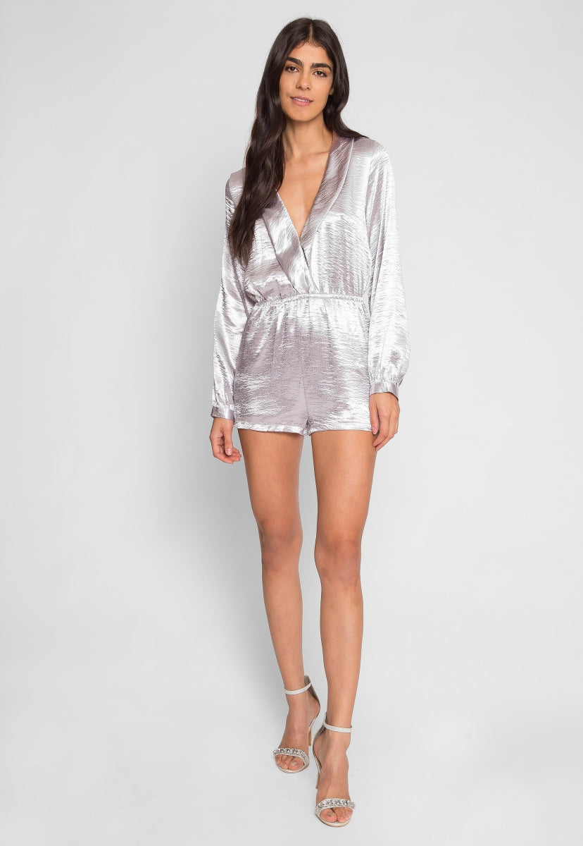 Silver Satin Long Sleeve Romper - Rompers & Jumpsuits - Wetseal