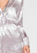Silver Satin Long Sleeve Romper
