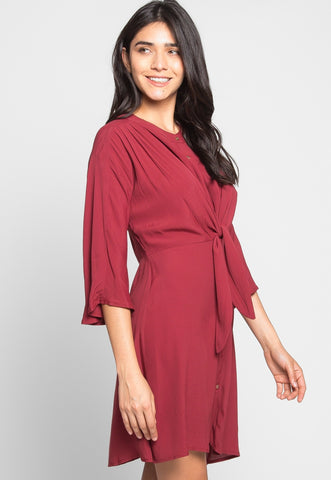 Memories Shirt Dress in Wine