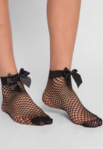 Rockstar Fishnet Bow Socks