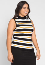 Plus Size Charger Knit Stripe Top in Yellow