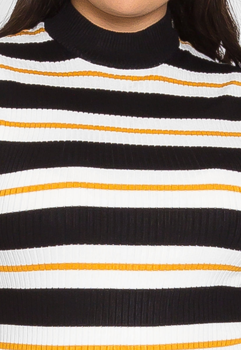 Plus Size Charger Knit Stripe Top in Yellow - Plus Tops - Wetseal