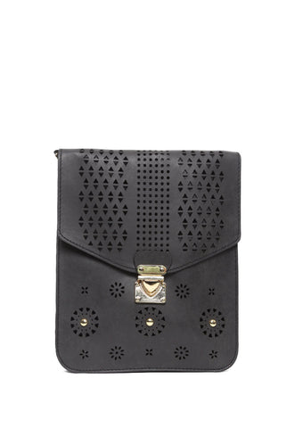 Perforated Nubuck Crossbody Bag in Black