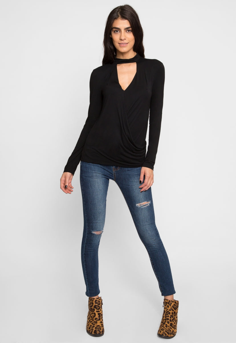 Retreat Surplice Top in Black - Shirts & Blouses - Wetseal