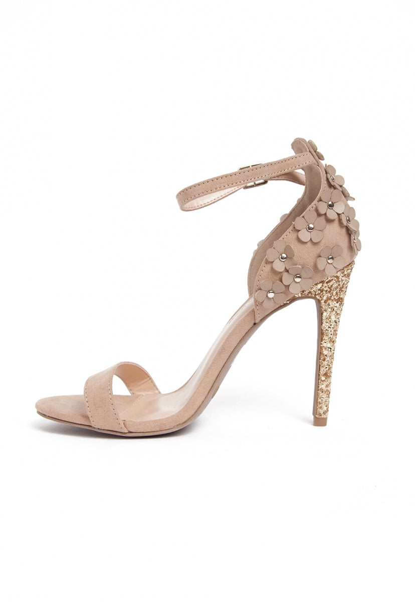 Tinsel Embellished Heels in Natural - Shoes - Wetseal