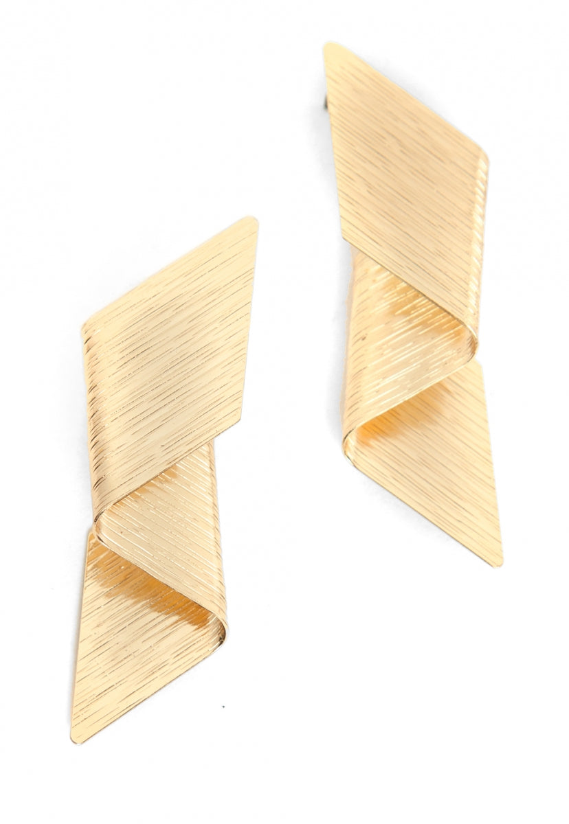 Textured Statement Earrings in Gold - Jewelry - Wetseal