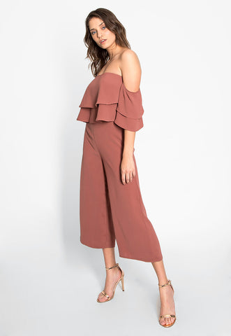 Remembering You Ruffle Jumpsuit in Pink