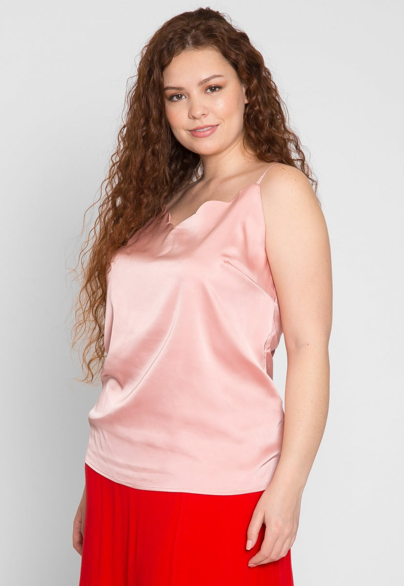 Plus Size Scallop Edge Cami Top in Light Pink - Plus Tops - Wetseal