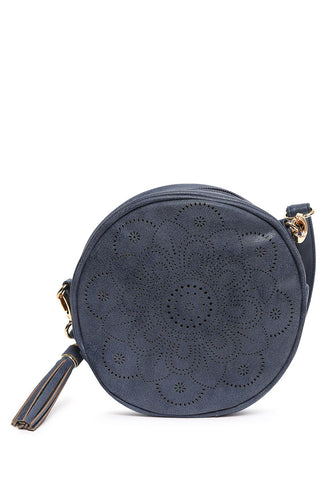 Floral Perforated Canteen Circle Bag in Navy