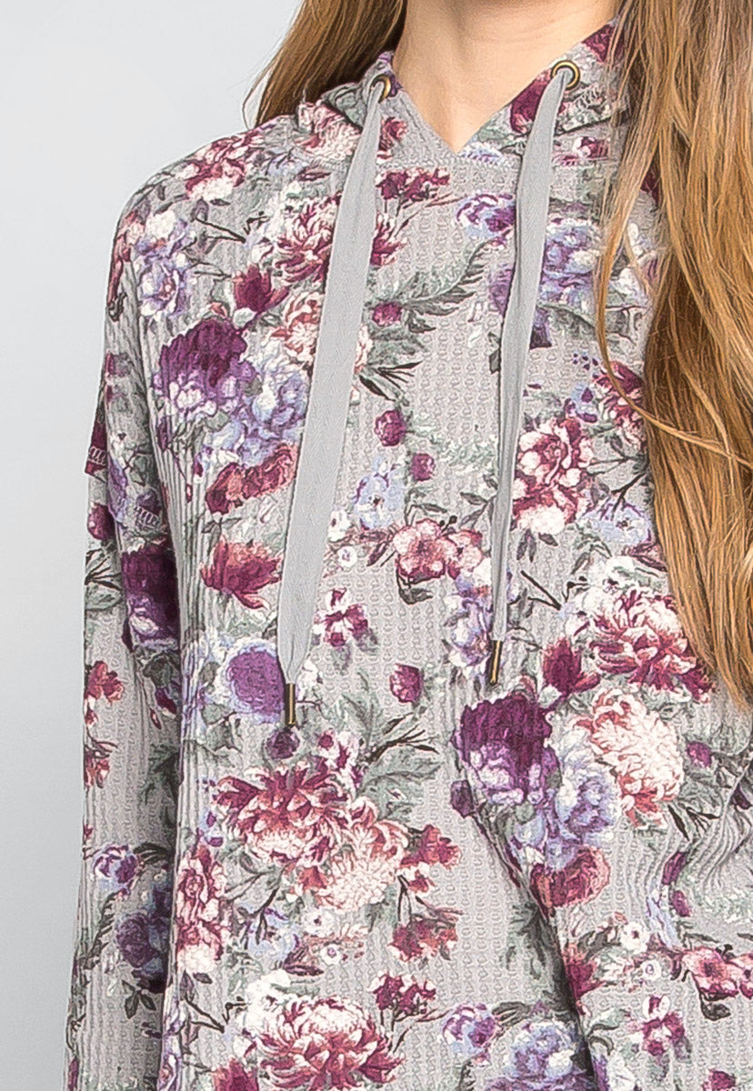 Missing You Thermal Floral Hoodie - Sweaters & Sweatshirts - Wetseal