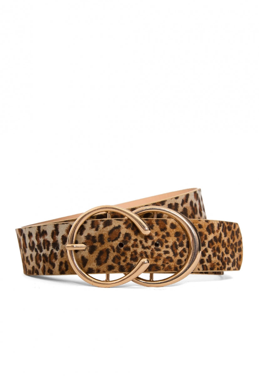 Roll Call Double Buckle Leopard Belt - Belts - Wetseal