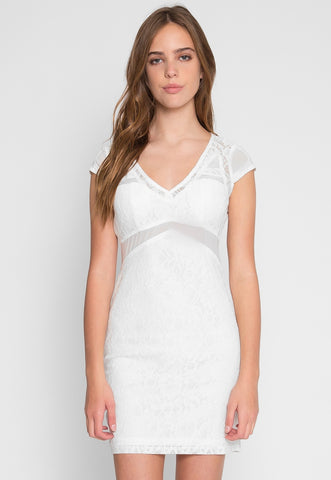 Roe Lace Bodycon Dress in White