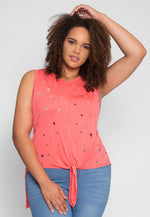 Plus Size Distressed Tie Front Top in Pink