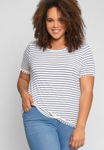 Plus Size Favorite Stripes Top in Blue