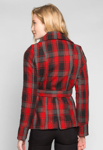 Autumn Belted Plaid Coat