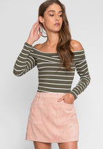 Camping Trip Corduroy Skirt in Light pink