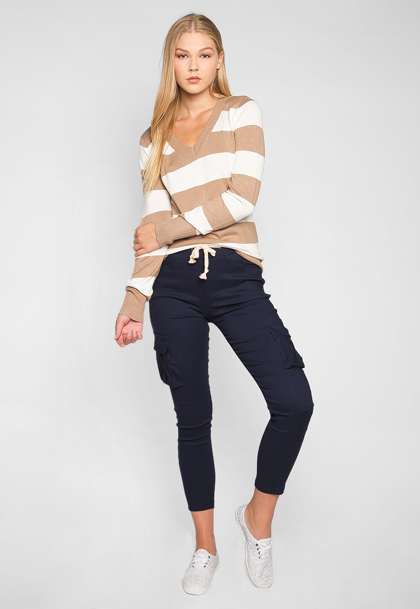 Be My Soulmate V-Neck Stripe Fitted Cardigan in Mocha - Sweaters & Sweatshirts - Wetseal