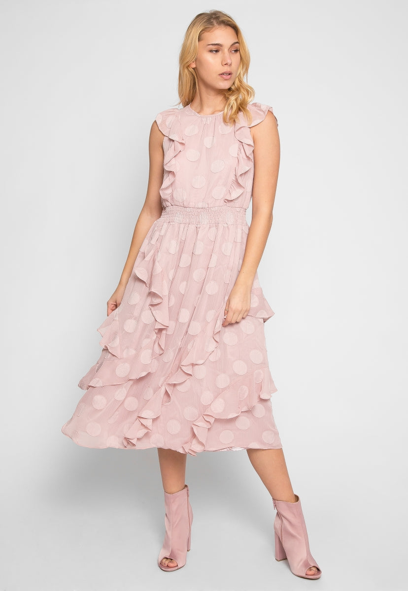Ella Polka Dot Ruffle Dress in Light Pink - Dresses - Wetseal