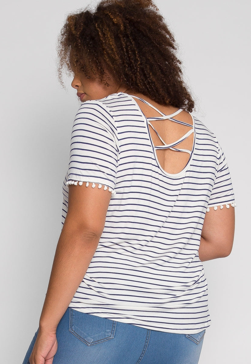 Plus Size Favorite Stripes Top in Blue - Plus Tops - Wetseal