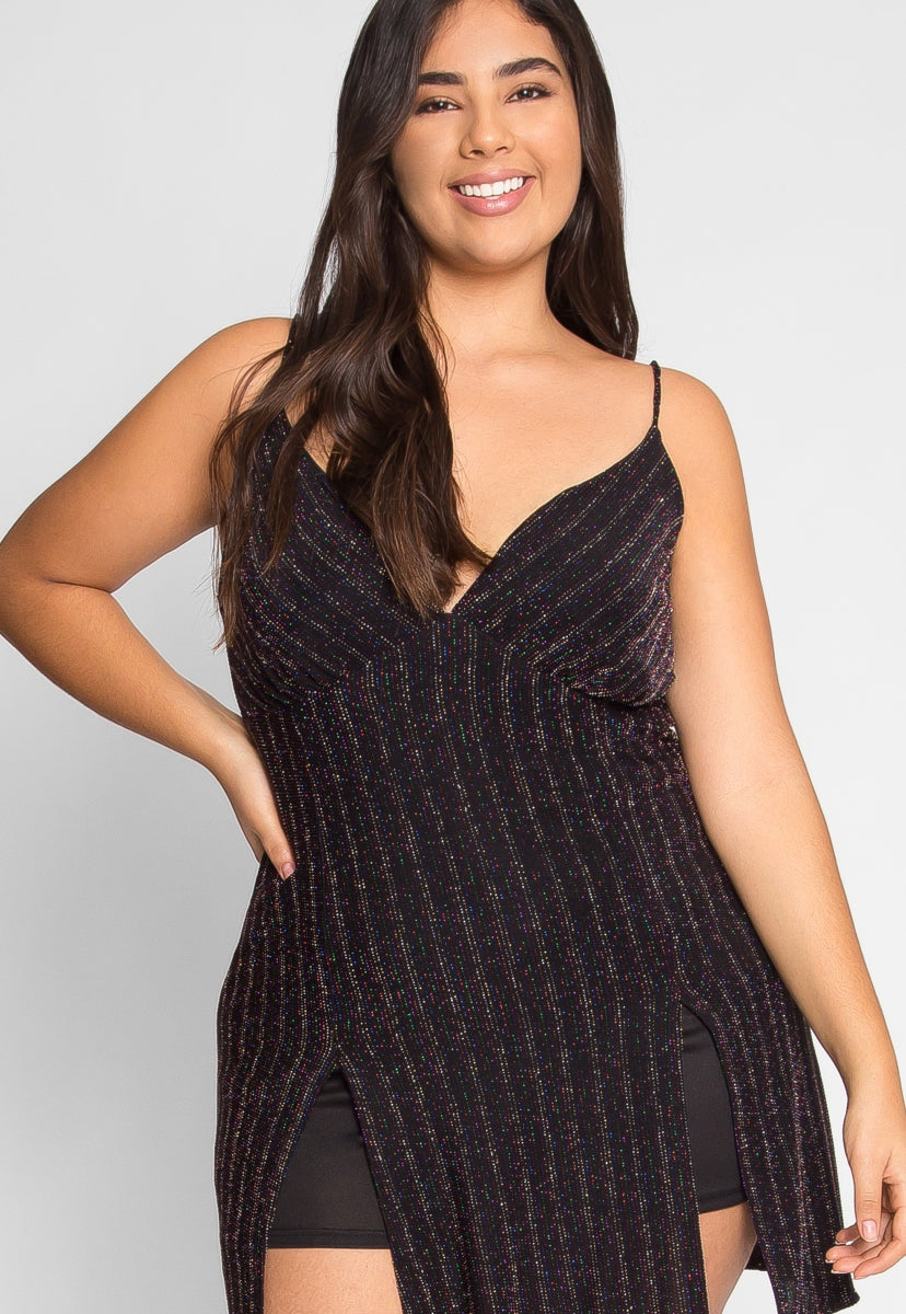 Plus Size Party Luxe Lurex Party Romper - Plus Rompers & Jumpsuits - Wetseal