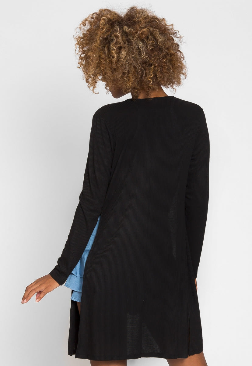Compass Baby Knit Cardigan in Black - Sweaters & Sweatshirts - Wetseal