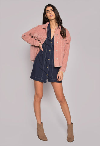 Emily Raw Hem Corduroy Jacket In Pink