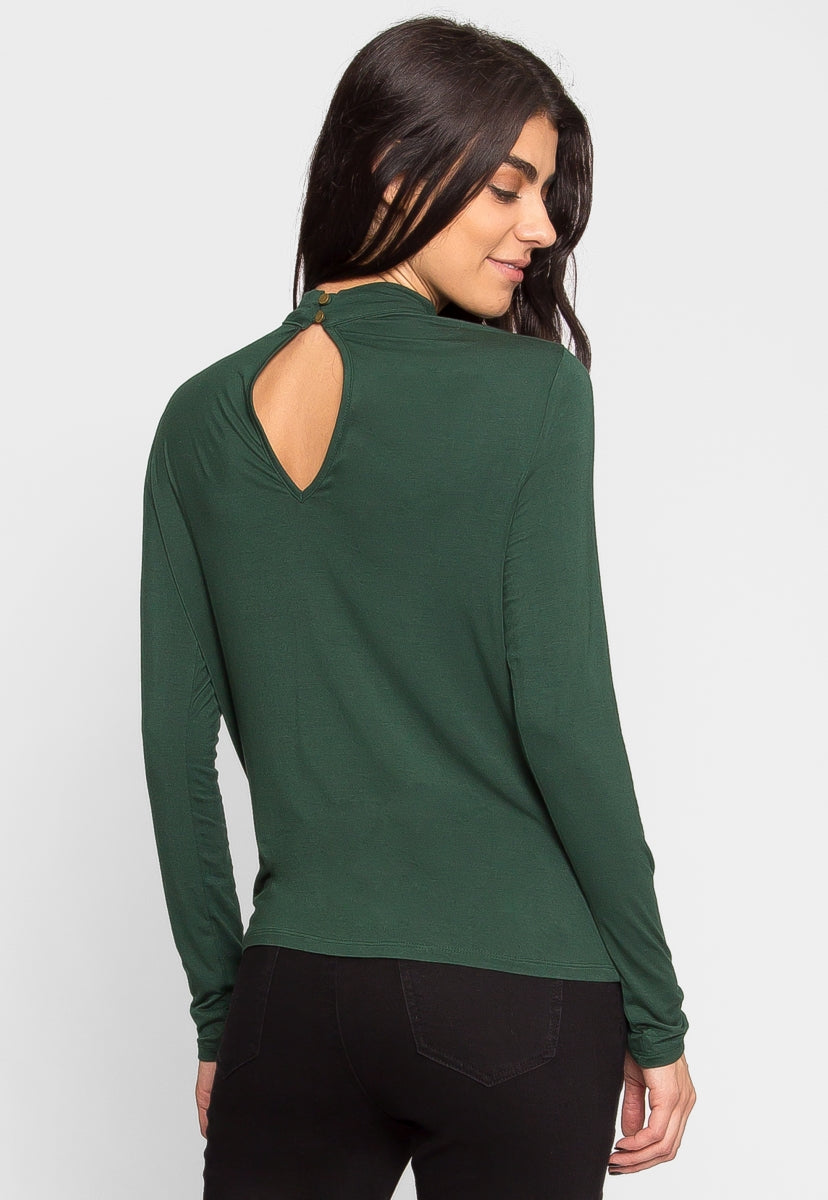 Retreat Surplice Top in Green - Shirts & Blouses - Wetseal