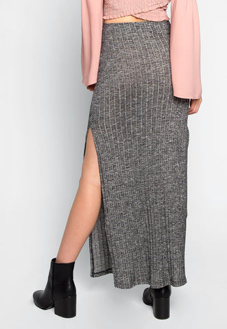 Hit The Ground Heathered Knit Maxi Skirt