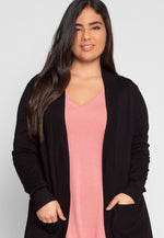Plus Size Longline Cardigan in Black