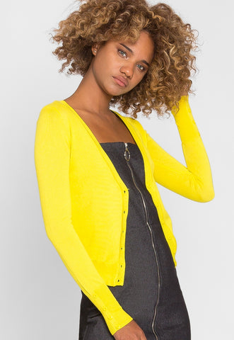 Water Lily V-Neck Cardigan in Yellow