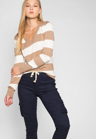 Be My Soulmate V-Neck Stripe Fitted Cardigan in Mocha